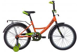 """Велосипед NOVATRACK 20"""", VECTOR, оранжевый, защита А-тип, тормоз нож., крылья и багажник чёрн."""