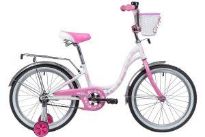 """Велосипед NOVATRACK 20"""", BUTTERFLY, белый-розовый, тормоз ножной, крылья и багажник"""