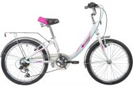 "Подростковый велосипед  NOVATRACK 20"", ANCONA, белый, алюм., 6-скор, TY21/RS35/SG-6SI, V-brake"