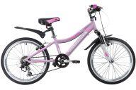 "Подростковый велосипед  NOVATRACK 20"", NOVARA, розовый, алюм., 6-скор, TY21/TS38/SG-6SI, V-brake"